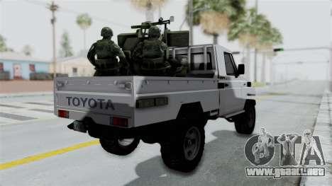 Toyota Land Cruiser Libyan Army para GTA San Andreas left