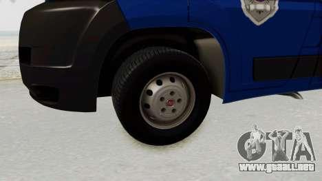 Fiat Ducato Police para GTA San Andreas vista hacia atrás