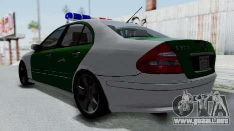 Mercedes-Benz E500 Police para GTA San Andreas vista posterior izquierda