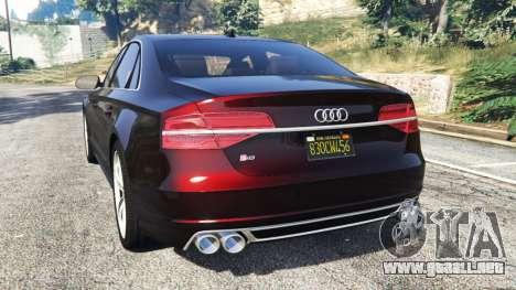 GTA 5 Audi S8 W12 2016 vista lateral izquierda trasera