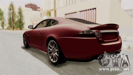 Jaguar XKR-S para GTA San Andreas vista posterior izquierda