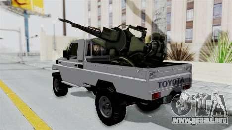 Toyota Land Cruiser Libyan Army para GTA San Andreas vista posterior izquierda