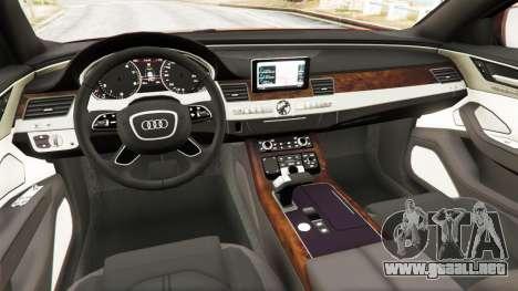 GTA 5 Audi S8 W12 2016 vista lateral trasera derecha