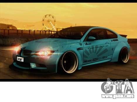 BMW M3 E92 Libertad Pie LB Rendimiento para GTA San Andreas vista posterior izquierda