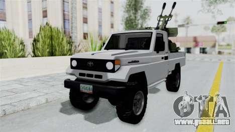 Toyota Land Cruiser Libyan Army para la visión correcta GTA San Andreas