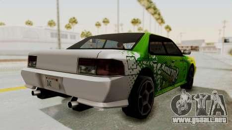 Sprunk Sultan para GTA San Andreas vista posterior izquierda