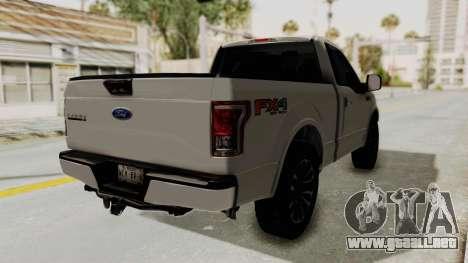 Ford Lobo XLT 2015 Single Cab para GTA San Andreas vista posterior izquierda