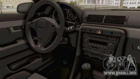 Audi A4 2002 Stock para GTA San Andreas vista hacia atrás
