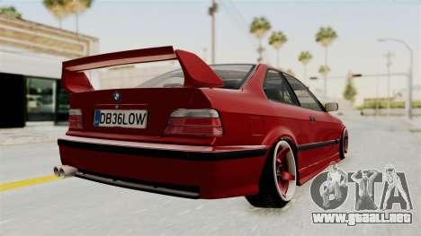 BMW 325i E36 Coupe para GTA San Andreas vista posterior izquierda