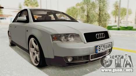 Audi A4 2002 Stock para GTA San Andreas vista posterior izquierda