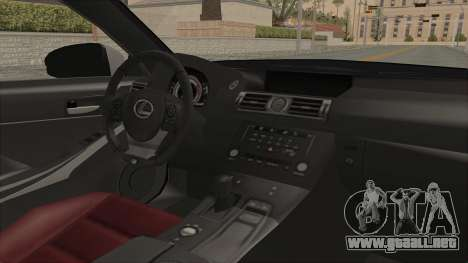 Lexus IS350 FSport Megami no Aqua para visión interna GTA San Andreas