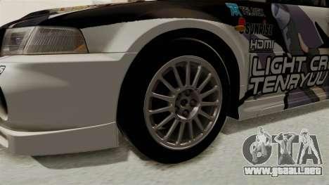 Mitsubishi Lancer Evolution VI Tenryuu Itasha para GTA San Andreas vista hacia atrás