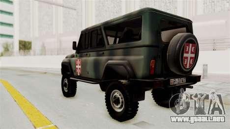 UAZ-3153 Cazador de las fuerzas Serbias para GTA San Andreas left