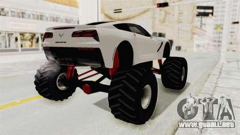 Chevrolet Corvette Stingray C7 Monster Truck para GTA San Andreas left