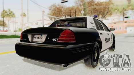 Ford Crown Victoria SFPD para GTA San Andreas vista posterior izquierda