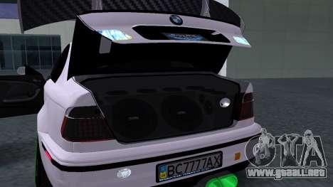 BMW M3 E46 JDM para GTA San Andreas vista hacia atrás