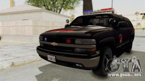 Chevrolet Suburban Indonesian Police RESMOB Unit para GTA San Andreas vista posterior izquierda