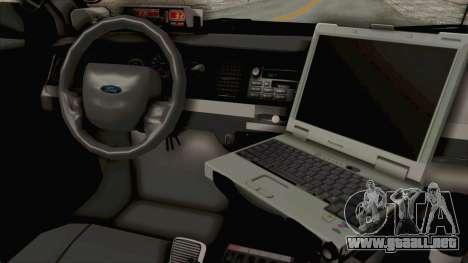 Ford Crown Victoria SFPD para visión interna GTA San Andreas