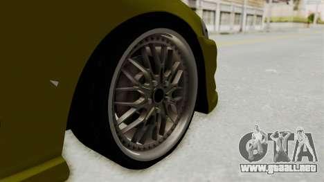 Honda Civic Fast and Furious para GTA San Andreas vista hacia atrás