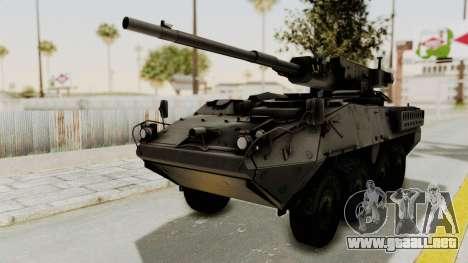 M1128 Mobile Gun System IVF para GTA San Andreas vista posterior izquierda