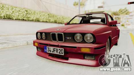 BMW M3 E30 1988 para la visión correcta GTA San Andreas