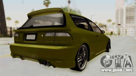 Honda Civic Fast and Furious para GTA San Andreas vista posterior izquierda