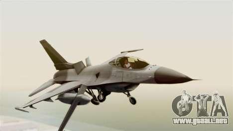 F-16 Fighting Falcon para GTA San Andreas vista posterior izquierda