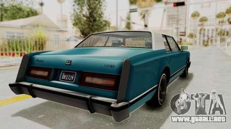 GTA 5 Dundreary Virgo Classic Custom v3 IVF para GTA San Andreas vista posterior izquierda