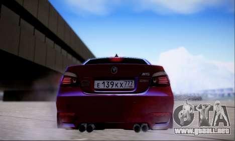 BMW M5 E60 Huracan para GTA San Andreas vista hacia atrás