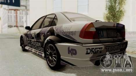 Mitsubishi Lancer Evolution VI Tenryuu Itasha para GTA San Andreas vista posterior izquierda