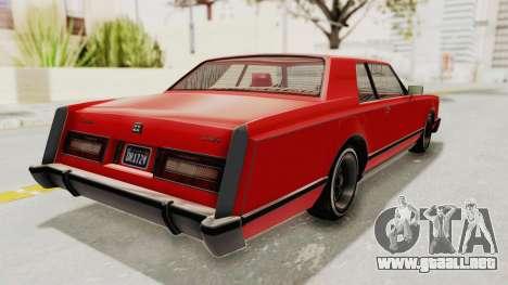 GTA 5 Dundreary Virgo Classic Custom v2 para GTA San Andreas vista posterior izquierda