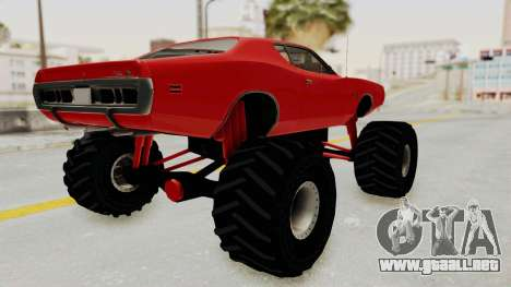 Dodge Charger 1971 Monster Truck para GTA San Andreas vista posterior izquierda