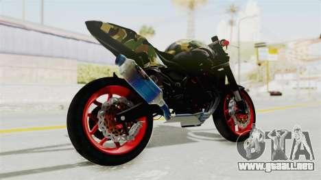 Kawasaki Ninja 250R Naked Camouflage para GTA San Andreas left