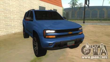 Chevrolet TrailBlazer para GTA San Andreas vista hacia atrás