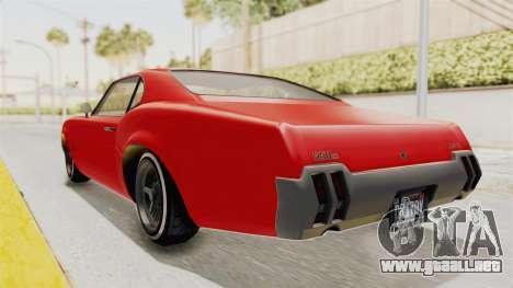 GTA 5 Declasse Sabre GT2 IVF para GTA San Andreas vista posterior izquierda