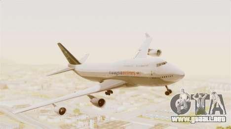 Boeing 747-400 Malaysia Airlines Tabung Haji para GTA San Andreas vista posterior izquierda