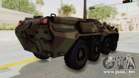 BTR-80 Desert Turkey para GTA San Andreas vista posterior izquierda