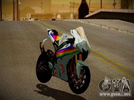 Yamaha YZR M1 2016 Rainbow Dash para GTA San Andreas left
