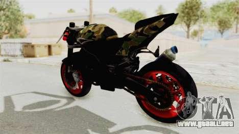 Kawasaki Ninja 250R Naked Camouflage para GTA San Andreas vista posterior izquierda