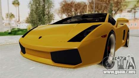 Lamborghini Gallardo 2005 para GTA San Andreas vista posterior izquierda