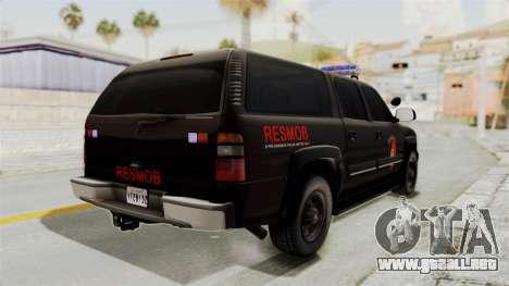Chevrolet Suburban Indonesian Police RESMOB Unit para la visión correcta GTA San Andreas