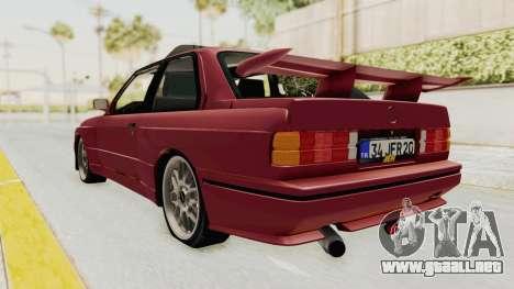 BMW M3 E30 1988 para GTA San Andreas vista posterior izquierda