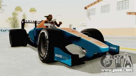 Rio Haryanto 88 F1 Manor Racing para GTA San Andreas vista posterior izquierda