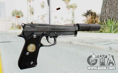 Tariq Iraqi Pistol Back v1 Silver Silenced para GTA San Andreas segunda pantalla