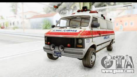 MGSV Phantom Pain Ambulance para GTA San Andreas vista posterior izquierda