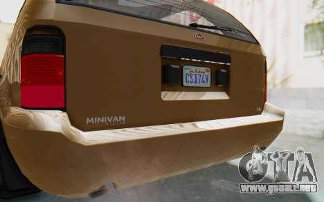 GTA 5 Vapid Minivan para visión interna GTA San Andreas