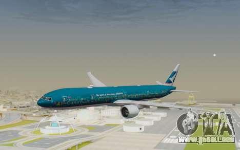 Boeing 777-300ER Cathay Pacific Airways v2 para GTA San Andreas vista posterior izquierda