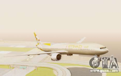 Boeing 777-300ER Etihad Airways para GTA San Andreas vista posterior izquierda
