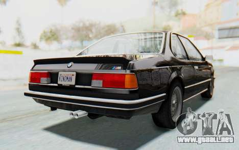 BMW M635 CSi (E24) 1984 HQLM PJ3 para GTA San Andreas vista posterior izquierda