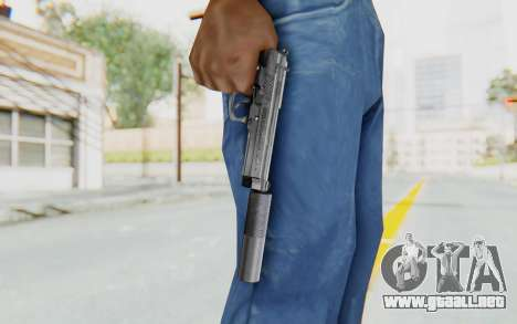 Tariq Iraqi Pistol Back v1 Silver Silenced para GTA San Andreas tercera pantalla